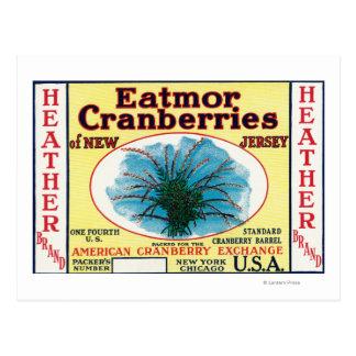 Heather Eatmor Cranberries Brand Label Postcards