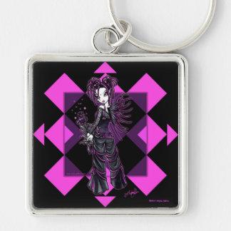 """""""Heather"""" Gothic Pink Flower Fairy Keychain"""