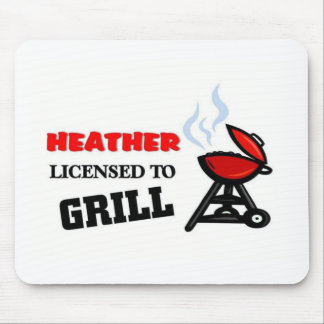 Heather licensed to grill mouse pad