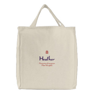 Heather Name With English Meaning Organic Embroidered Tote Bag