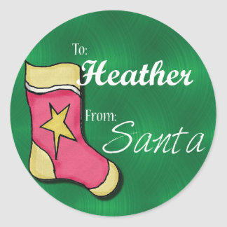 Heather Personalized Stocking Label Classic Round Sticker