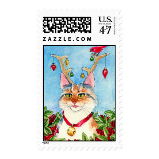 Heather the pink-nosed reincat postage stamp