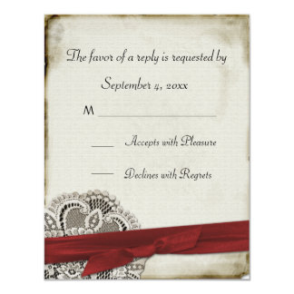 """Heather Vintage Lace Red Response Card 4.25"""" X 5.5"""" Invitation Card"""