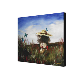 Heather with Blue Butterflies Canvas Print