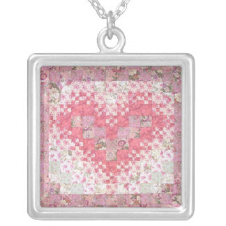 Heathers Lacy Heart Quilt Silver Plated Necklace