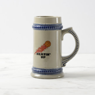 heatin up basketball on fire beer stein