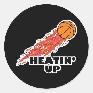 heatin up basketball on fire classic round sticker