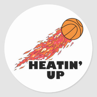 heatin up basketball on fire classic round sticker