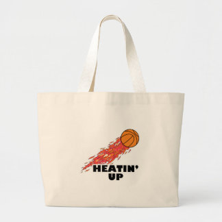 heatin up basketball on fire large tote bag