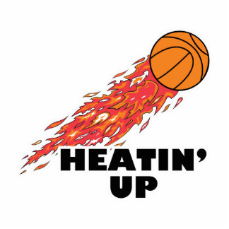 heatin up basketball on fire statuette