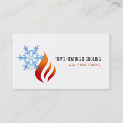 Fire and ice heating and air conditioning business card zazzle reheart Image collections