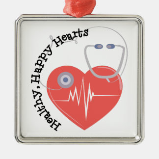 Heatlty Hearts Square Metal Christmas Ornament