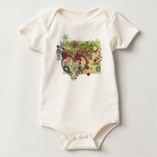 heats and flowers baby bodysuit