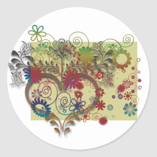 heats and flowers classic round sticker