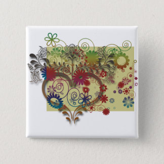 heats and flowers pinback button