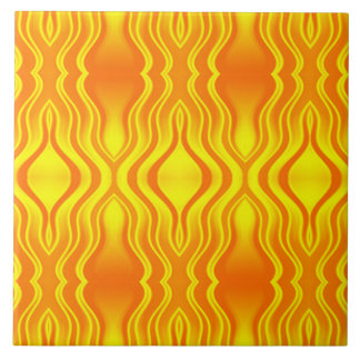 Heatwaves Orange Yellow Abstract Tile