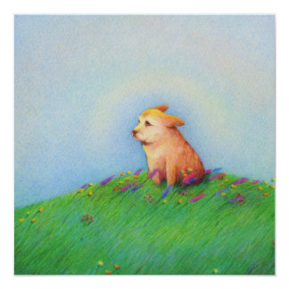 Heaven - beautiful puppy dog Spring morning Card
