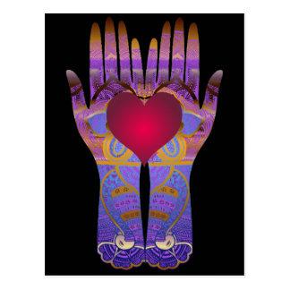 Heaven Hands Dark Postcard
