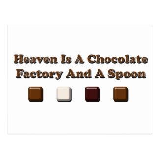 Heaven Is A Chocolate Factory And A Spoon Postcard