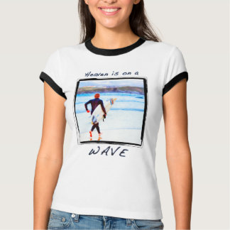 Heaven Is On A Wave - Surfer On Beach At Newquay T-Shirt