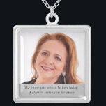 """Heaven Mother of Bride Photo Wedding Day Memorial Silver Plated Necklace<br><div class=""""desc"""">Wear this beautiful Mother of the Bride photo memorial necklace on your wedding day to feel the love you shared with her and keep her close on your special day. Add your own special text, or, use the wording as shown """"We know you would be here today if Heaven weren't...</div>"""