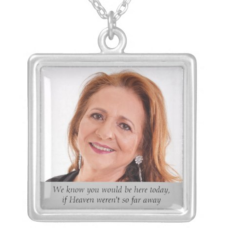 Heaven Mother of Bride Photo Wedding Day Memorial Silver Plated Necklace