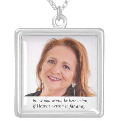 Heaven Mother of Bride Photo Wedding Memorial Silver Plated Necklace