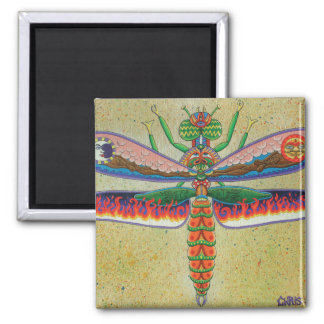 Heaven n Hell Dragonfly  2 Inch Square Magnet