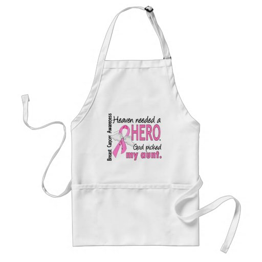 Heaven Needed A Hero Aunt Breast Cancer Adult Apron