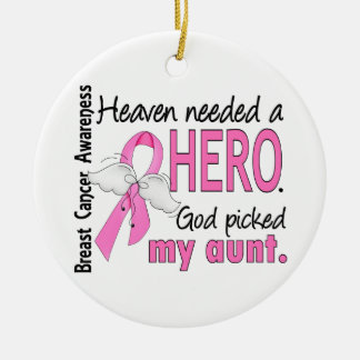 Heaven Needed A Hero Aunt Breast Cancer Double-Sided Ceramic Round Christmas Ornament