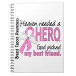 Heaven Needed A Hero Best Friend Breast Cancer Spiral Notebooks