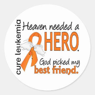 Heaven Needed a Hero Best Friend Leukemia Classic Round Sticker