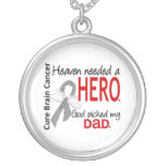 Heaven Needed a Hero Brain Cancer Dad Round Pendant Necklace