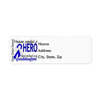 Heaven Needed a Hero Colon Cancer Granddaughter Label