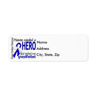 Heaven Needed a Hero Colon Cancer Grandfather Label