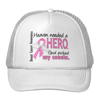 Heaven Needed A Hero Cousin Breast Cancer Mesh Hats