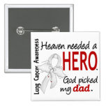 Heaven Needed a Hero Dad Lung Cancer 2 Inch Square Button