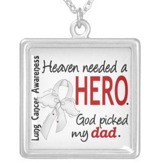 Heaven Needed a Hero Dad Lung Cancer Personalized Necklace