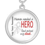 Heaven Needed a Hero Dad Lung Cancer Custom Necklace