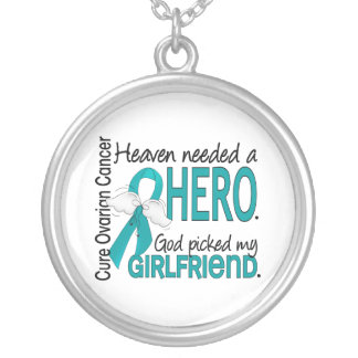 Heaven Needed a Hero Girlfriend Ovarian Cancer Necklace