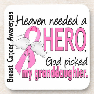Heaven Needed A Hero Granddaughter Breast Cancer Beverage Coaster