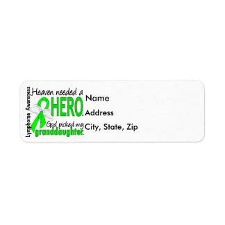 Heaven Needed a Hero Granddaughter Lymphoma Label