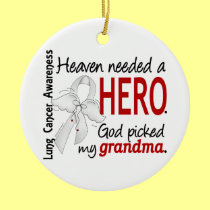 Heaven Needed A Hero Grandma Lung Cancer Double-Sided Ceramic Round Christmas Ornament