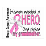 Heaven Needed A Hero Grandmother Breast Cancer Postcard