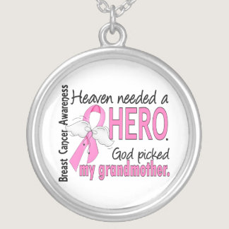 Heaven Needed A Hero Grandmother Breast Cancer Silver Plated Necklace
