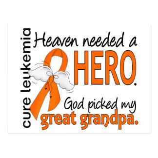 Heaven Needed a Hero Great Grandpa Leukemia Postcard