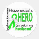 Heaven Needed a Hero Husband Lymphoma Classic Round Sticker