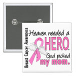 Heaven Needed A Hero Mom Breast Cancer Buttons