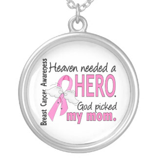 Heaven Needed A Hero Mom Breast Cancer Round Pendant Necklace