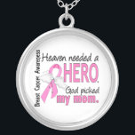 """Heaven Needed A Hero Mom Breast Cancer Silver Plated Necklace<br><div class=""""desc"""">To see this design for additional loved ones as well as the complete Awareness Gift Boutique Collection of exclusive Breast Cancer Awareness and Support designs, please visit our Breast Cancer Section at Remember and honor your mom while sharing the important message of Breast Cancer awareness with Heaven Needed A Hero...</div>"""